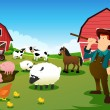 Farmer and tractor in a farm with farm animals and barn — Imagens vectoriais em stock