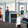 Passengers walking through security check — Imagens vectoriais em stock