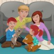 Happy family with pets — Imagen vectorial