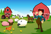 Farmer and tractor in a farm with farm animals and barn — Stock Vector