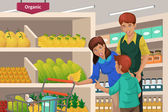 Family shopping fruits in a supermarket — Stock Vector