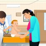Doctor examining a baby — Stock Vector #28807649