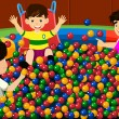 Kids playing in ball pool — Stock Vector