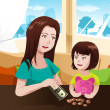 Stock Vector: Mother and daughter saving money to a piggy bank