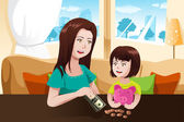 Mother and daughter saving money to a piggy bank — Stock Vector