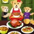 Bear family having dinner — Stock Vector