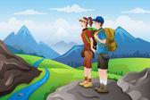 Backpackers on top mountains — Stock Vector