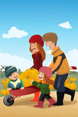 Kids and their parents on a pumpkin patch — Stock Vector