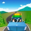 Couple riding a car going on a road trip — Stock Vector