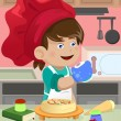 Kid cooking in the kitchen — Stock Vector