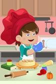 台所で料理の子供 — ストックベクタ