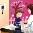 Kid getting a flu shot by a doctor in the arm — Stock Vector