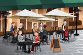 People enjoying coffee outside of a cafe — Vecteur