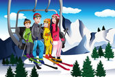 Family going skiing sitting on a ski lift — Stock Vector