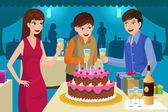 Young people celebrating a birthday party — Stock Vector