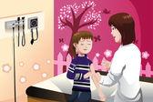 子供を腕に医者によってショット インフルエンザを得る — ストックベクタ