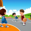 Kids playing basketball in a playground — Stock Vector