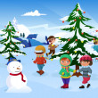Kids skating around a Christmas tree — Stock Vector