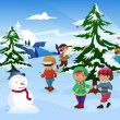 Kids skating around a Christmas tree — Stock Vector #30919323