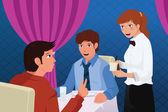 Waiter in a restaurant serving customers — Stock Vector