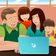 Happy family looking at a laptop — Stock Vector
