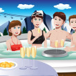 Young people enjoying jacuzzi — Stock Vector