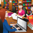College students studying in a library — Stock Vector