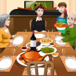 Family having a Thanksgiving dinner — Stock Vector