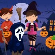 Kids dressed up in costumes trick or treating — Stockvektor