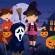 Stock Vector: Kids dressed up in costumes trick or treating