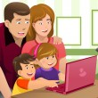 Stock Vector: Happy family looking at a laptop