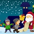 Santa Claus carrying present and holding a name list with kids a — Image vectorielle