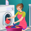 Housewife doing laundry — Stock Vector #31376113