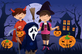 Kids dressed up in costumes trick or treating — Stock Vector