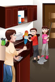 Kids helping their parent cleaning house — Stock Vector