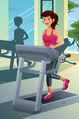 Woman running on a treadmill in a gym — Stock Vector