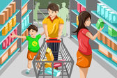 Family shopping grocery — Stock Vector