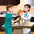 Veterinarian examining a cute dog — Stock Vector