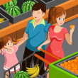 Family shopping grocery — Stockvektor