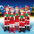 Children singing in Christmas choir — Imagen vectorial