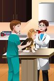 Veterinarian examining a cute dog — Stock Vector