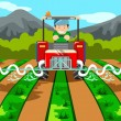 Stock Vector: Farmer watering the farm with tractor