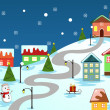 Winter village  — Stock Vector