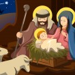 Joseph, Mary and baby Jesus — Stock Vector
