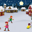 Kids playing in a winter wonderland — Imagen vectorial