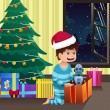 Boy opening a present under the Christmas tree — 图库矢量图片