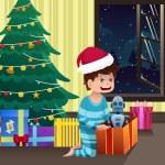 мальчик, открытие подарок под елкой — Cтоковый вектор