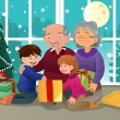 Vector de stock : Kids opening Christmas present from grandparents