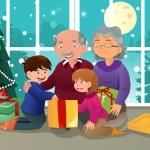 дети, открытие Рождественский подарок от бабушки и дедушки — Cтоковый вектор