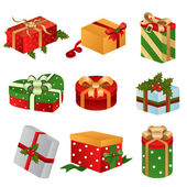Different designs of Christmas present boxes — Stock Vector